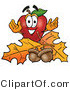 Vector Illustration of a Red Apple Mascot with Acorns and Fall Leaves in Autumn by Toons4Biz
