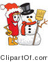 Vector Illustration of a Red Hot Chili Pepper Mascot with a Snowman on Christmas by Toons4Biz