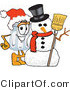 Vector Illustration of a Salt Shaker Mascot with a Snowman on Christmas by Toons4Biz