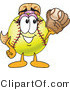 Vector Illustration of a Softball Girl Mascot Catching a Ball in a Mitt by Toons4Biz