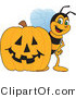 Vector Illustration of a Worker Bee Mascot by a Halloween Pumpkin by Toons4Biz