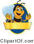 Vector Illustration of a Worker Bee Mascot Logo Mascot over a Blank Banner on a Blue Oval by Toons4Biz