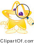 Vector Illustration of a Yellow Cartoon Star Mascot Using a Magnifying Glass by Toons4Biz