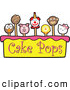 Vector Illustration of Cake Pops over Yellow and Pink with Text by Toons4Biz