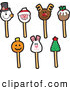 Vector Illustration of Holiday Themed Cake Pops by Toons4Biz
