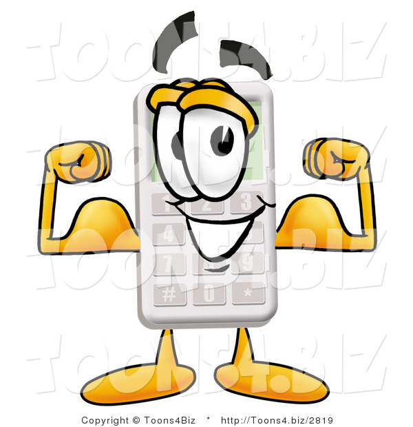 cartoon calculator flexing muscles